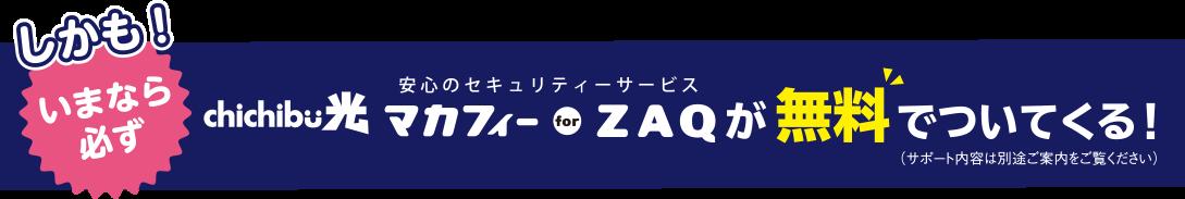 しかも! いまなら必ず chichibu光 マカフィー for ZAQ が無料でついてくる! ※サポート内容は別途ご案内をご覧ください。
